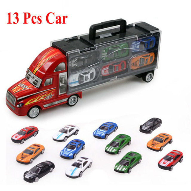 1pcs Truck Car + 12pcs Sedan Car Alloy Car Model Big Mac Cargo Truck Children's Toys Best Gift