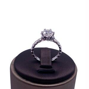 Image 2 - 925 סטרלינג כסף טבעת 1ct 2ct 3ct יהלום ליטוש עגולה תכשיטי Moissanite טבעת אירוסין טבעת יום נישואים טבעת