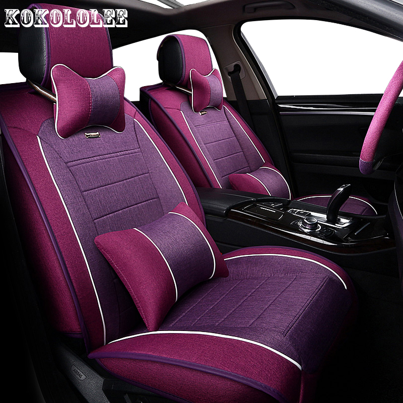 KOKOLOLEE Universal auto linen Car seat cover For Peugeot 205 206 207 3008 301 306 307 308 405 406 407 automobiles accessories custom car floor mats for peugeot all model 307 206 308 308s 407 207 406 408 301 508 2008 3008 4008 auto accessories car styling