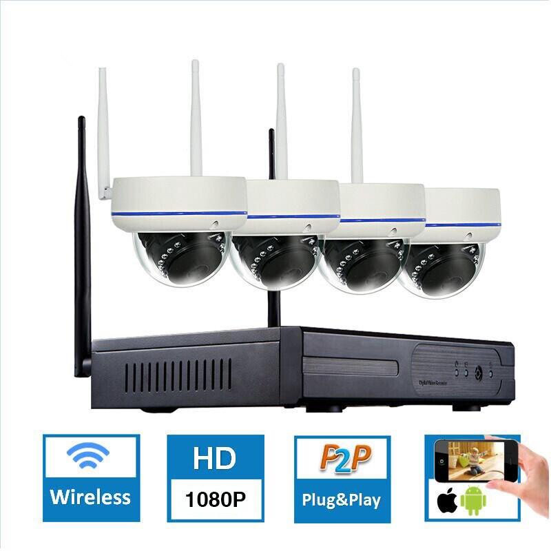 1080 P 4CH Sans Fil NVR CCTV Système wifi 2.0MP IR En Plein Air Dôme P2P IP Caméra Étanche de Sécurité Vidéo Surveillance Kit