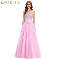 Free Shipping Sexy Tulle Top Sequin Long Bridesmaid Dresses Pink Formal Bridal Party Dress Women Special
