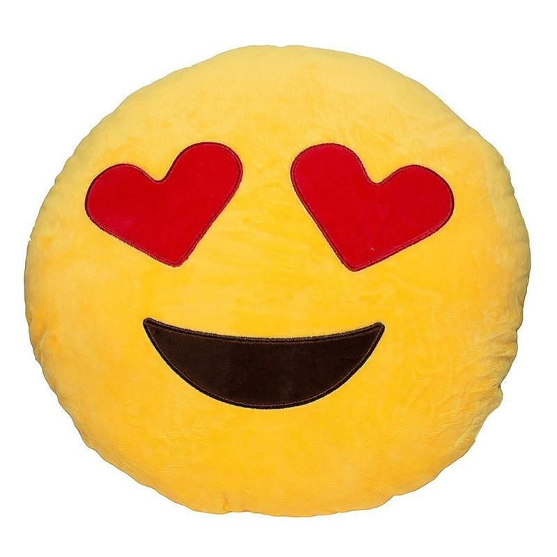Lucu Cute Emoji Bantal Bantal Plush Coussin Cojines Emoji Gato Kusyen Pusingan Emotikono Bantal Smiley Dihiasi Plush Almofada Panas