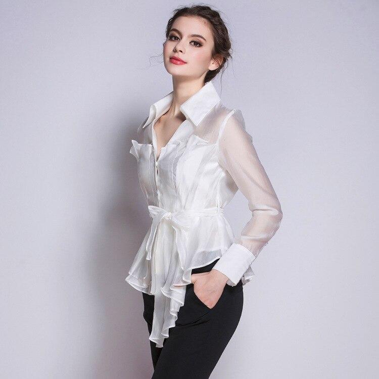 Femmes Blouses 2016 printemps nouvelle mode col en V plissé Blouse à manches longues Bowknot laçage blanc noir Blouse de haute qualité chemise