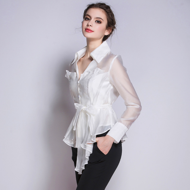 Women Blouses 2016 Spring New Fashion V Collar Pleated Blouse Long Sleeved Bowknot Lacing White Black Blouse High Quality Shirt цены онлайн