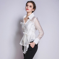 Women Blouses 2016 Spring New Fashion V Collar Pleated Blouse Long Sleeved Bowknot Lacing White Black Blouse High Quality Shirt