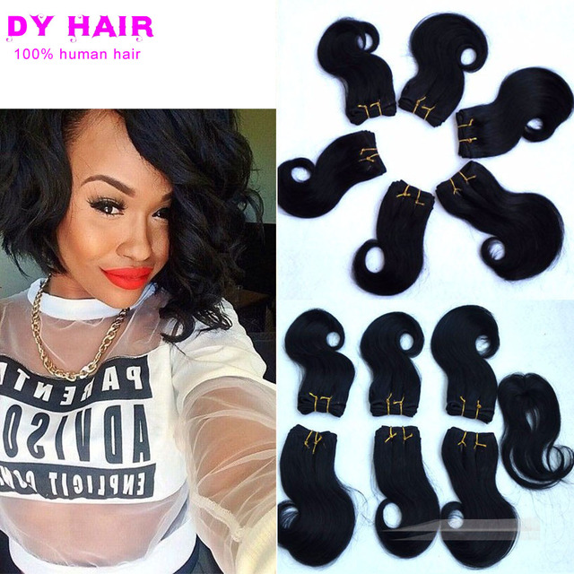 8inch Peruvian Virgin Short Body Wave With Closure Bob Hair Style Queen Extension Weaving 2