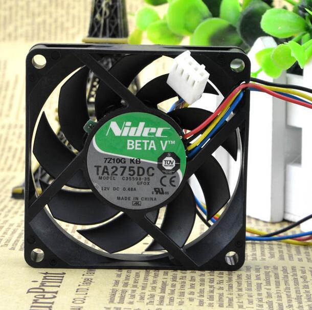 1 PCS Nidec Fan TA275DC C35598-35 DC 12V 0.48A 4 Pin 7cm 7015