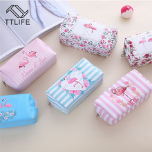 TTLIFE Women Cartoon Travel Cosmetic Bag Flamingo Large Storage With Zipper For Beauty Organizer Makeup