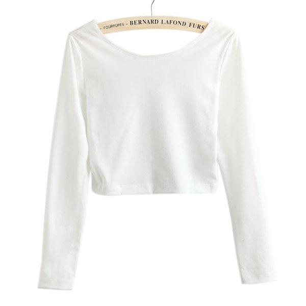 Women T Shirts Solid Female T Shirts Fashion Women Long Sleeve Crop Top Crew  Neck tights Ladies Solid Short T Shirt 1pcs -in T-Shirts from Women s  Clothing ... 683d27b32