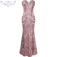 Vestido De Festa Strapless Sequined Mermaid Long Evening Dress Abendkleid Pink