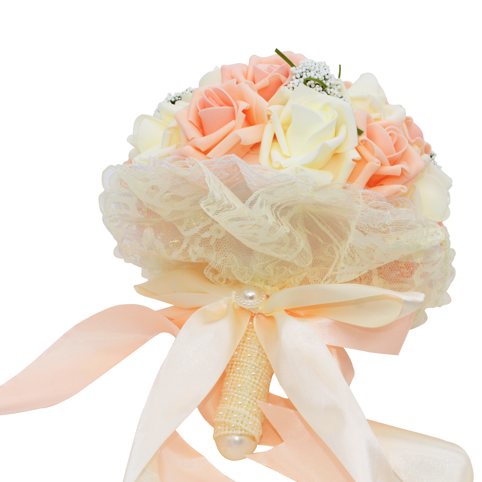 Artificial silk flowers bouquet foam roses wedding bouquet bridal artificial silk flowers bouquet foam roses wedding bouquet bridal bridesmaid bouquet lace decoration wedding flowers ivory pink in artificial dried izmirmasajfo