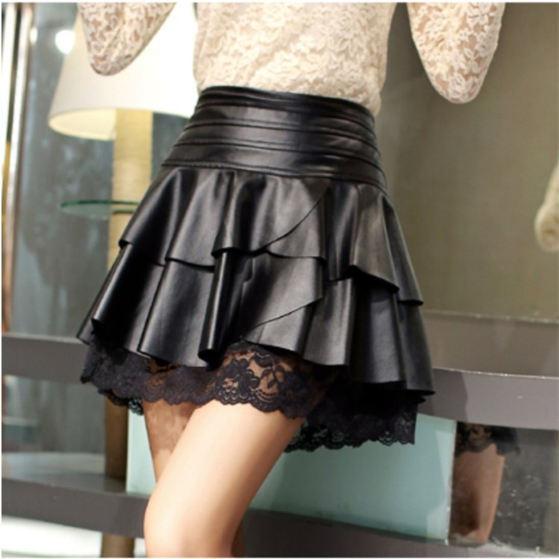 Women Sexy Pleated Skirt High Waist Black PU Leather Skirts Vintage Short Mini Skirt Lace Stitching Women's Clothing Saias C1595 image