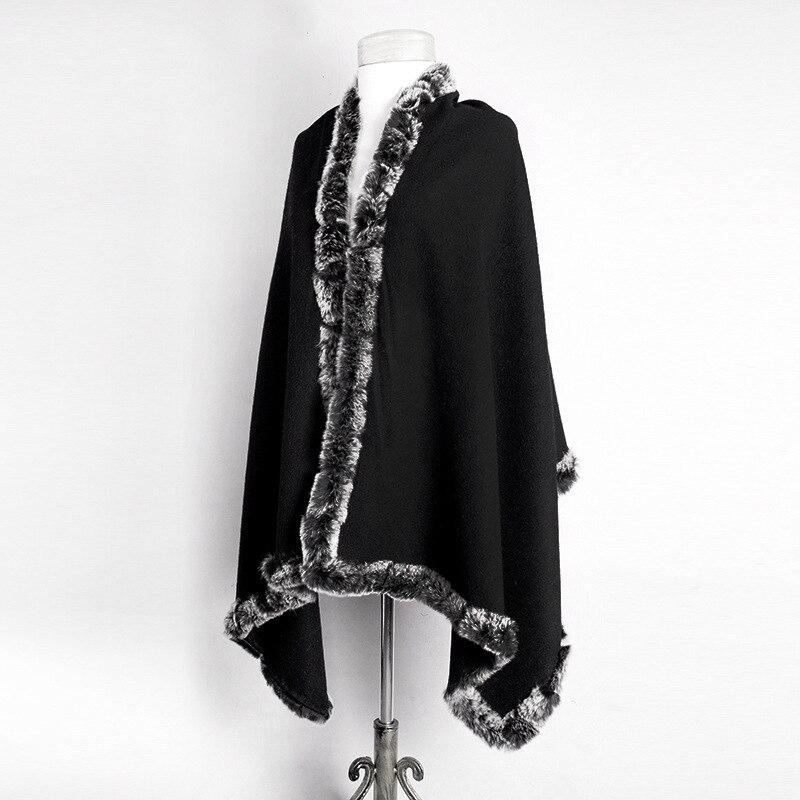 Hot Sale Black Women's 100% Wool Rabbit Fur Cape Classic Cashmere Pashmina Shawl Solid Color Stole Poncho Size 180 x 70cm