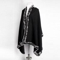 Vente chaude Noir Femmes de 100% Laine De Fourrure De Lapin Cape Classique cachemire Pashmina Châle Solide Couleur Volé Poncho Taille 180x70 cm