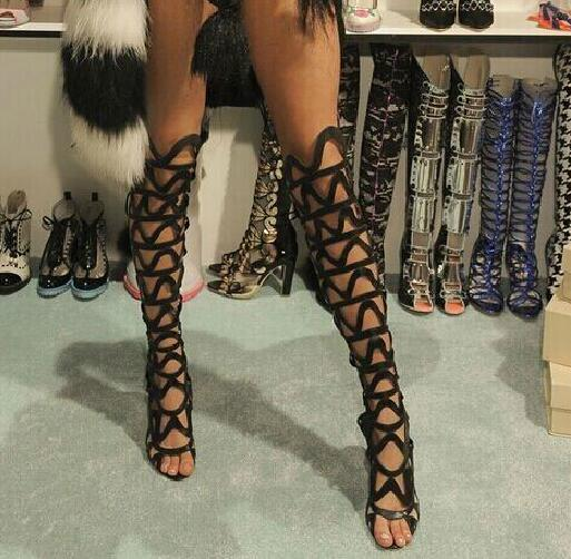 Women Sexy summer hollow out gladiator sandals black suede high heels cut-outs over the knee high boots summer sexy sandal women lady sexy cut out gladiator sandals boots fashion suede thigh high summer boots cross tied hollow out knee high flat boots