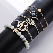 New 5 Pcs/Set Bohemian Tassel Beads Charm Bracelets Set For Women Girls Fashion Pineapple Heart Geometric Bracelet Jewelry