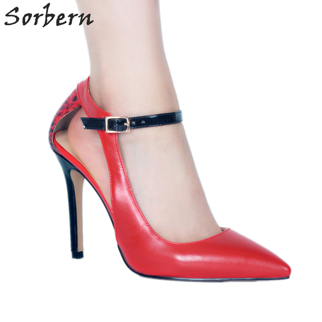 Sorbern Red Shoes Woman Pumps Hollow Out Side High Heels Party Shoes Custom Colors Snakeskin Back 34-48 Sexy Shoes Woman