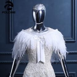 Hot Sale Elegant Ostrich Feather White Women Shawls Wedding Bridal Wraps Fur Formal Evening Party Cape Wraps Wedding Shawls