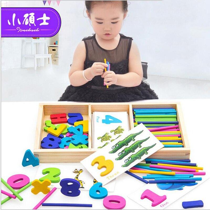 Arc-en-bois Comptage Puzzle Autocollants Pour Enfants Enfants Éducation Précoce Puzzle Intelligence En Développement Jouets Cadeau