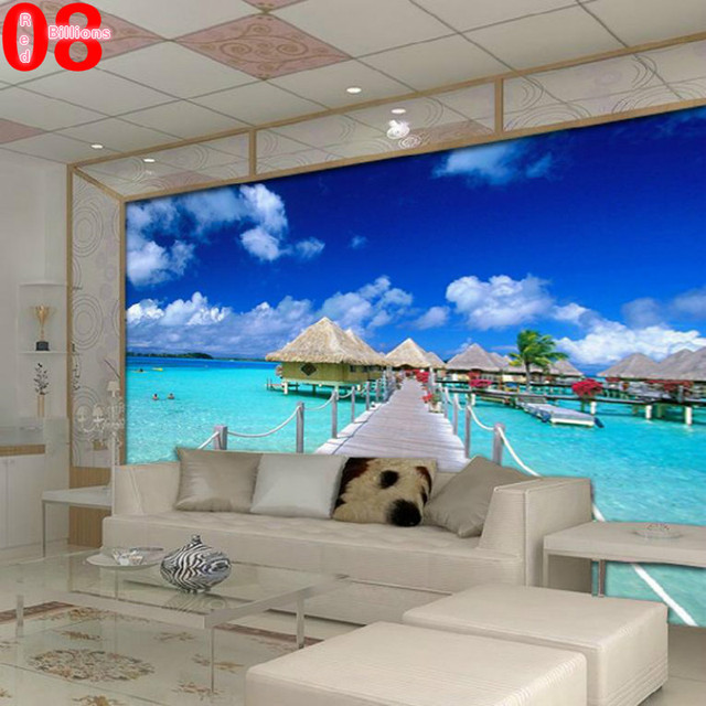 Mural Any Size Tv Wall Sofa Blue Sky Wall Wallpaper Photo Scenery Living  Room Wall Paper