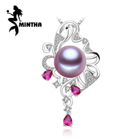 MINTHA 925 sterling silver pendant natural Pearl necklace for women,Ruby beryl jewelry charm party necklace pendant for love