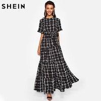 SHEIN Frilled Sleeve Brush Stroke Grid Tiered Dress Black Plaid Womens A Line Dresses Short Sleeve