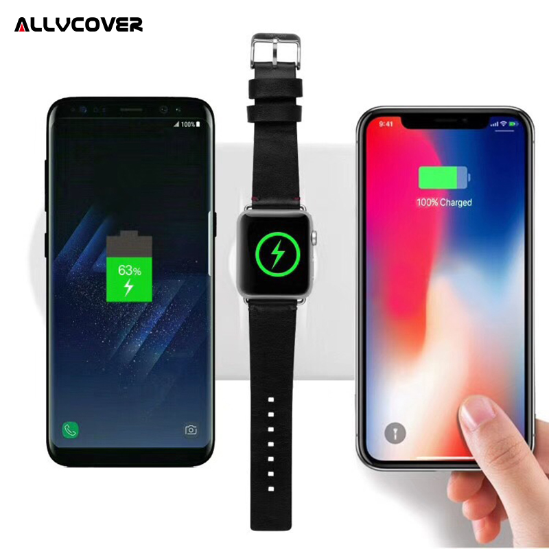 Allvcover 3 in 1 Qi Wireless Charger For iPhone iPhone X 8 plus For Apple Watch 2 3 QC 3.0 Quick Charger Pad For Samsung HTC