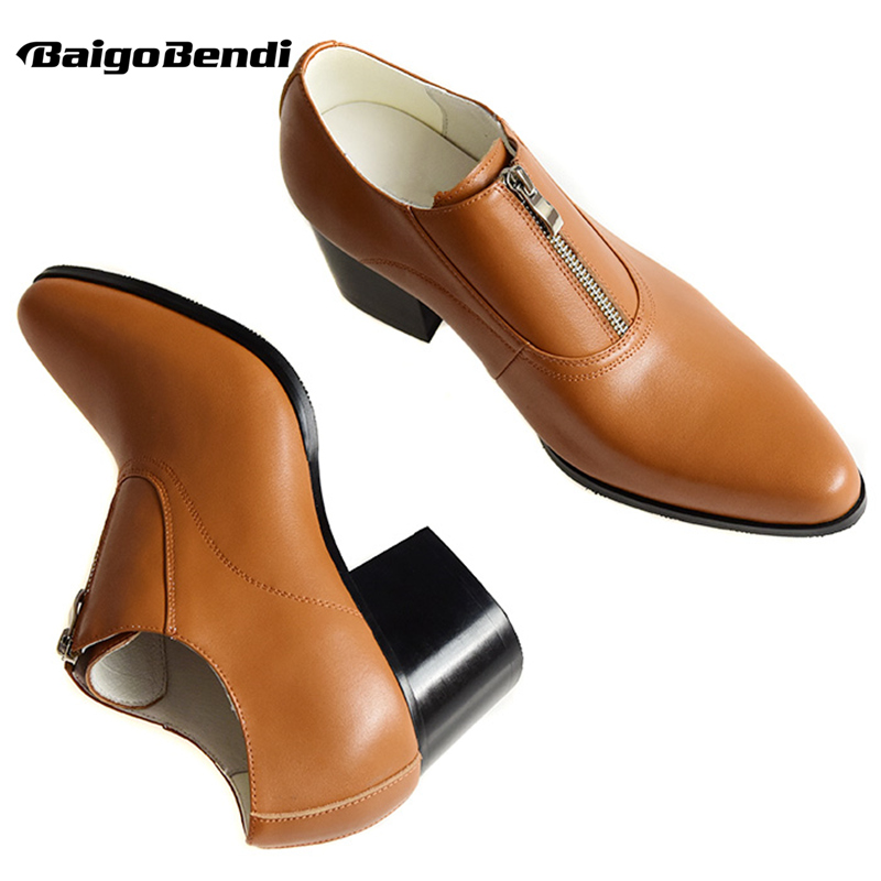 Recommend !! Mens Zip High Heel Shoes Heighten Wedding Shoes Business Man Pointed Toe Formal Dress Shoes Trendy Oxfords Party