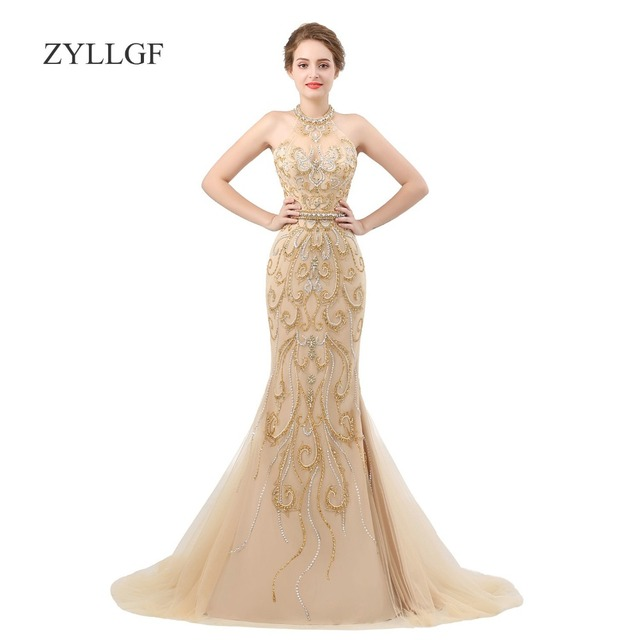 Zyllgf Mermaid Dress For Mother Of The Bride Luxury Crystal Beaded Evening