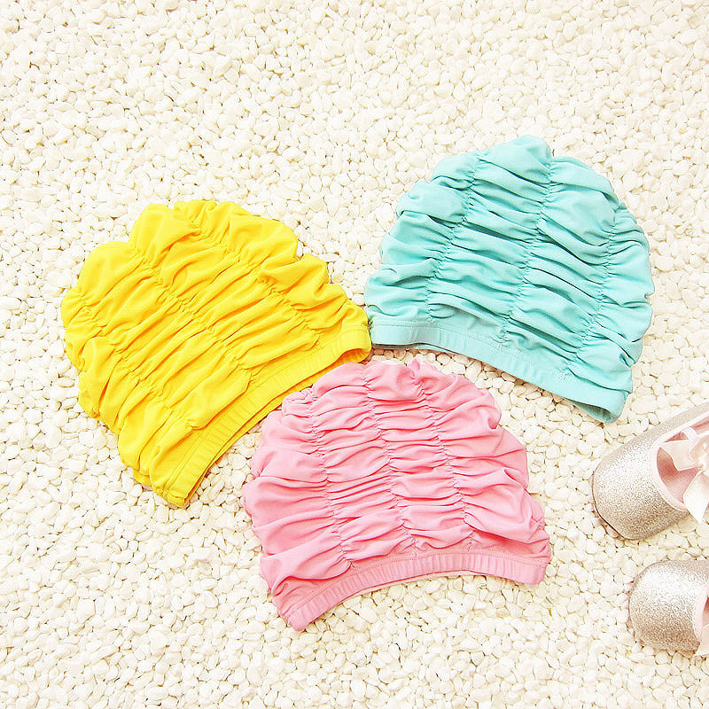 Cute Solid Pink Girls Swimming Cap Waterproof Ear Protection Swimming Cap Long Hair Baby Girls Swim Pool Caps Hat Kids Swimwear