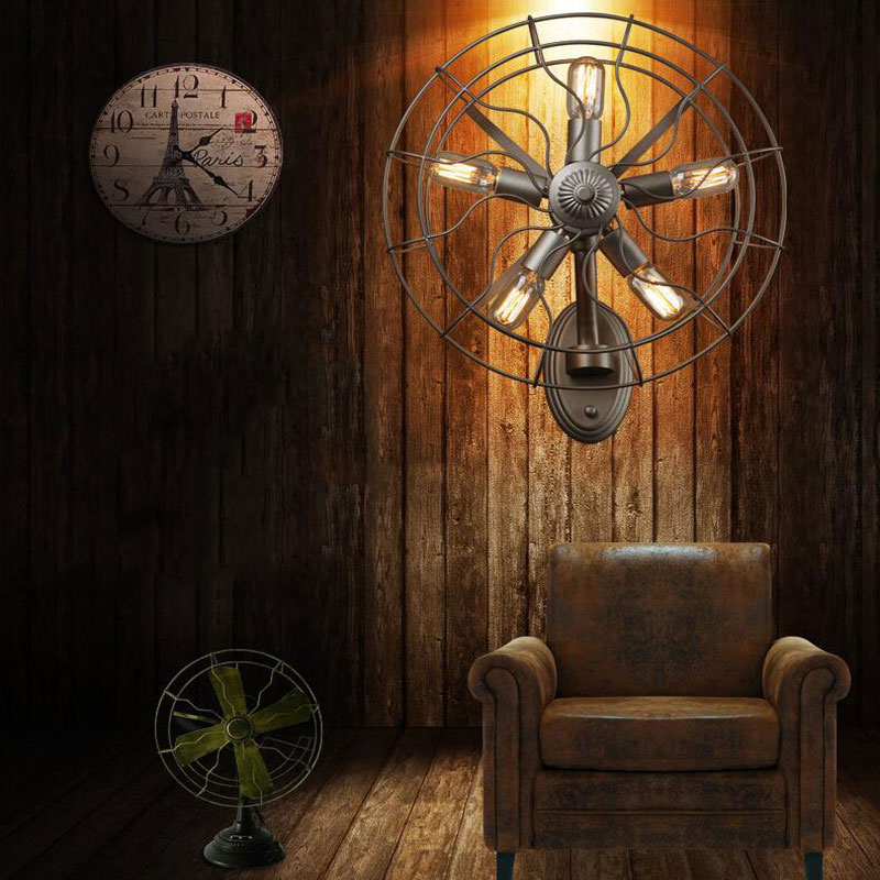 Loft American country retro fan wall lamp cafe bar dining room bedroom aisle corridor store Iron cage decorative lamp bra цена