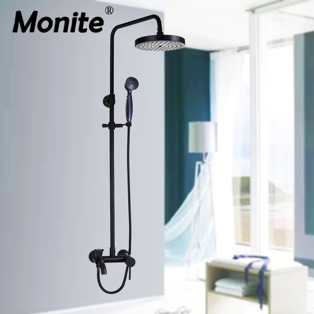 Best Price Bathroom Shower Set Black Finished Rainfall Mixer With The Hand