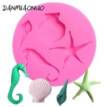Starfish Shell Seahorse Silikon Mold Food Grade Silicone Fondant Cake Decorating Tools Formas De Para Bolo E Doces