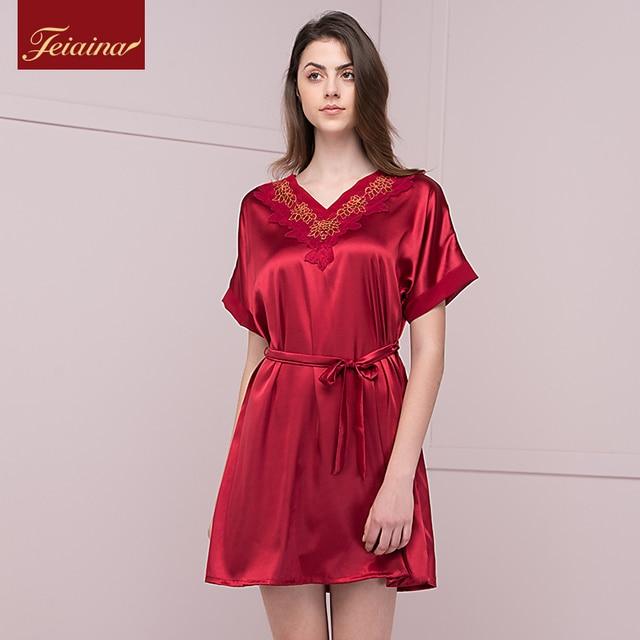 564010b7185b Silk sleepwear female summer nightgown sexy short-sleeve viscose medium  V-neck loose silk women s lounge