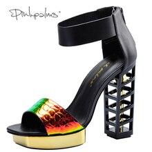 Pink Palms women summer shoes black birdcage heels 5 inch high heels women metallic wedges fretwork heels party dress sandals
