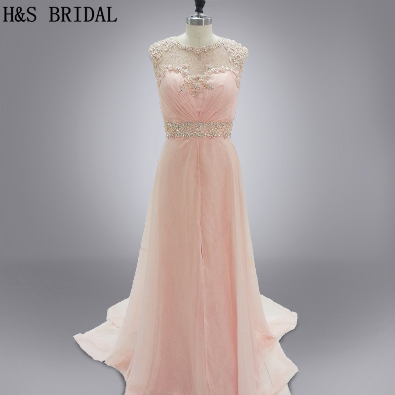 H&S BRIDAL Real photo 2017 light pink evening party gown chiffon and lace prom dresses long evening dresses