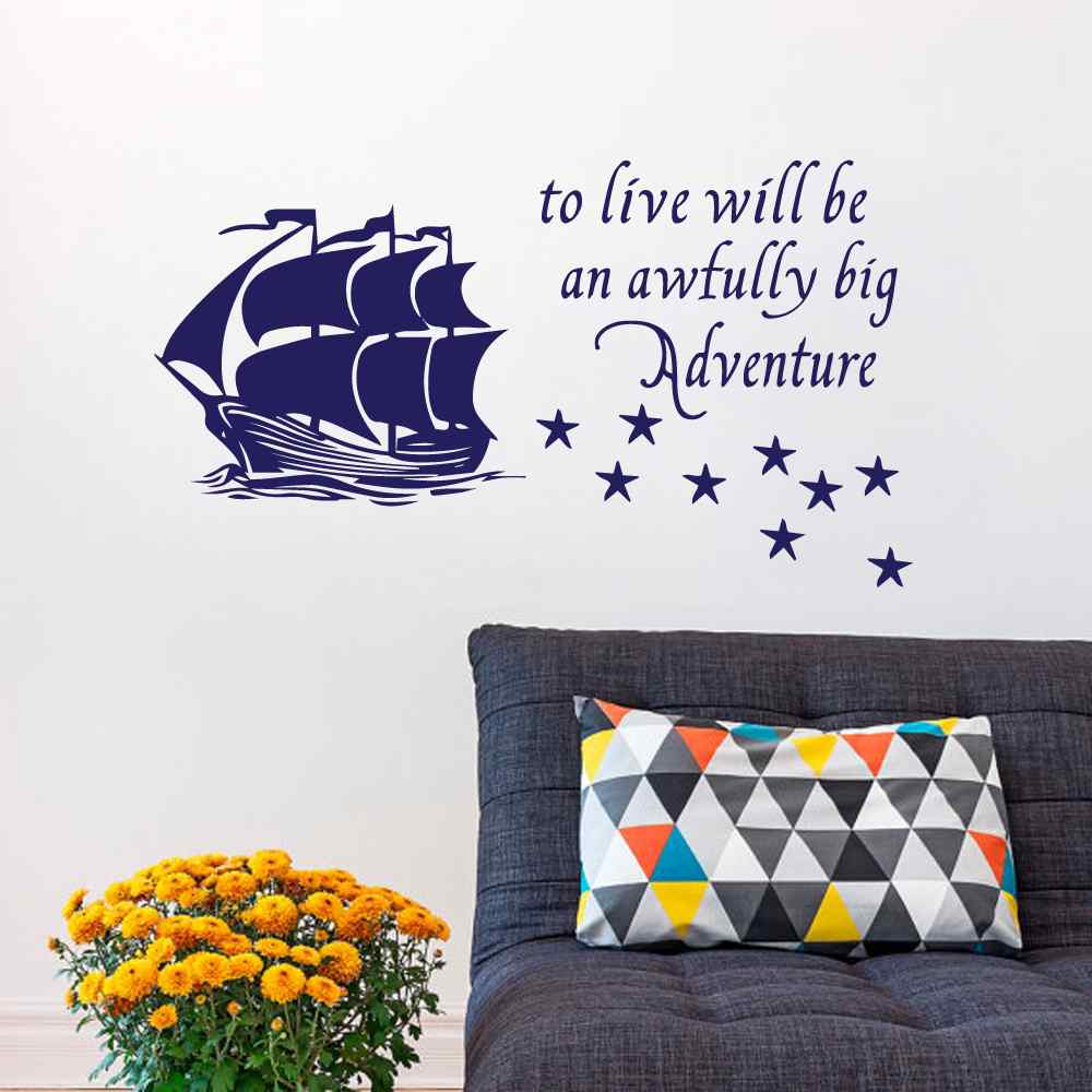 Online get cheap quote wall sticker peter pan aliexpress peter pan wall decal quote to live will be an awfully big adventure vinyl sticker pirate amipublicfo Gallery
