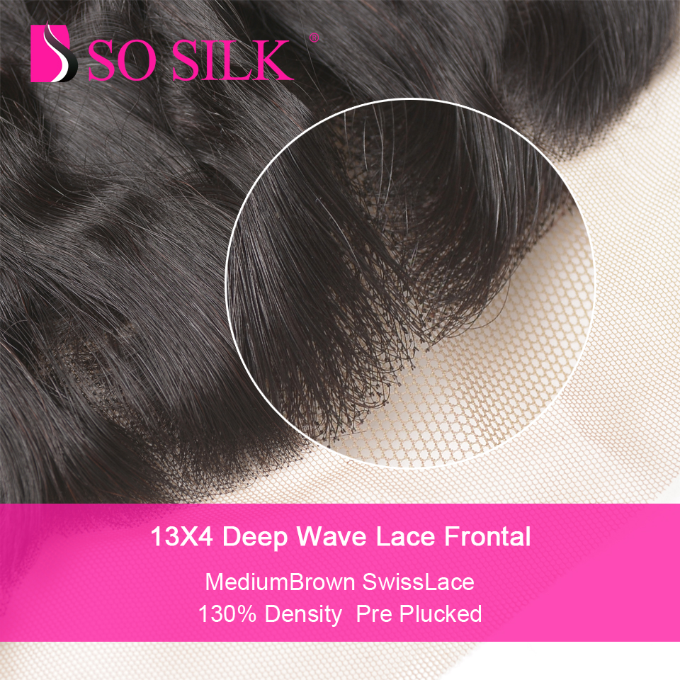 Peruvian Deep Wave 13*4 Lace Frontal Remy Hair Pre Plucked Frontal Closure With Baby Hair Ear To Ear Swiss Lace