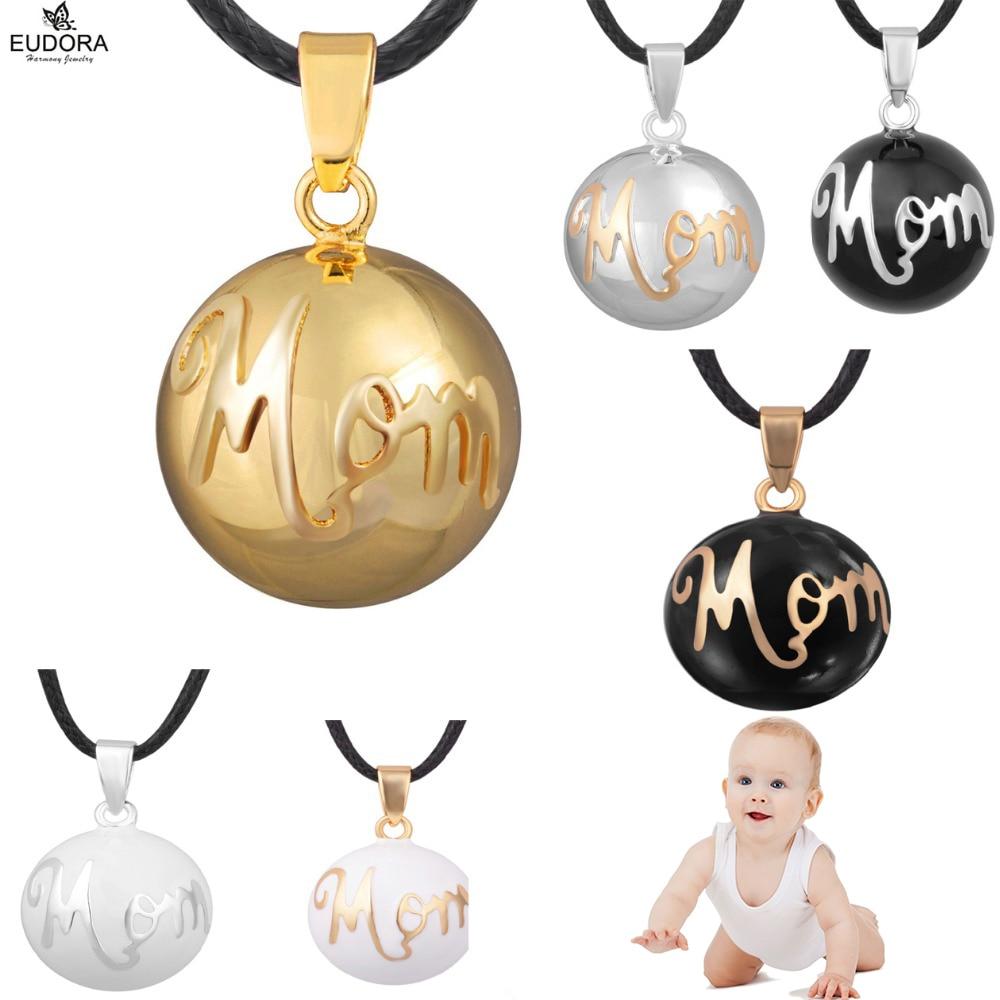 "Euodra Angel Caller Fashion Colgante Joyas ""Mom"" Print Chime Bola Embarazo Ball Mujeres embarazadas Colgantes largos Collares"