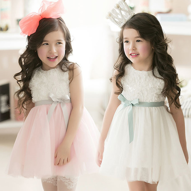 Princess Party Dress Summer New Korean Style Children Dress Girls 3D Rose Flower Bow Dress Baby Child Sleeveless Kids Clothes ems dhl free 2017 new lace tulle baby girls kids sleeveless party dress holiday children summer style baby dress valentine