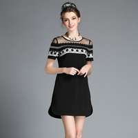 Women Party Dress Plus Size Embellished Lace Sheer Shoulder Black White Summer Dress S 5xl
