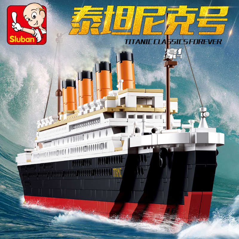 Sluban m38-0577 compatibile legoed città titanic RMS di Nave della Barca di set di costruzione di modello kit FAI DA TE hobby Educativi per bambini giocattoli dei mattoni
