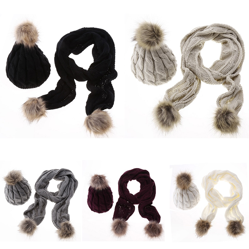 2019 Women Scarf And Hat Set Knitted Warm Girls Thicken Knitting Collars Skull Caps 5 Colors Top Quality Beanie Ball Hats T6