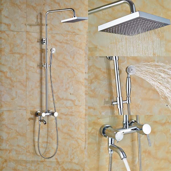 8 Brass Rain Shower Faucet Set Wall Mount Tub Mixer Tap with Hand Spray Chrome Finish china sanitary ware chrome wall mount thermostatic water tap water saver thermostatic shower faucet
