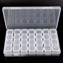 28 Grids Compartment Transparent Medicine Box Jewellery Packing Plastic Removable Box Nail Art Tool Storage Case цена