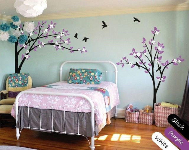 "modern nursery wall decal, large wall sticker, ""handmade"" tree birds"