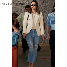 White Blazer Women Long Sleeve Double Breasted Blazers Black Balzer 2019 Ladies Jackets And Female Coat