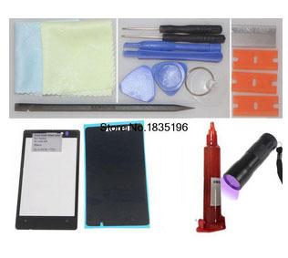 Frente outer lente de vidro preto para nokia lumia 925 + pré-corte de fita adesiva cola adesivo kit de reparação de substituição da tela