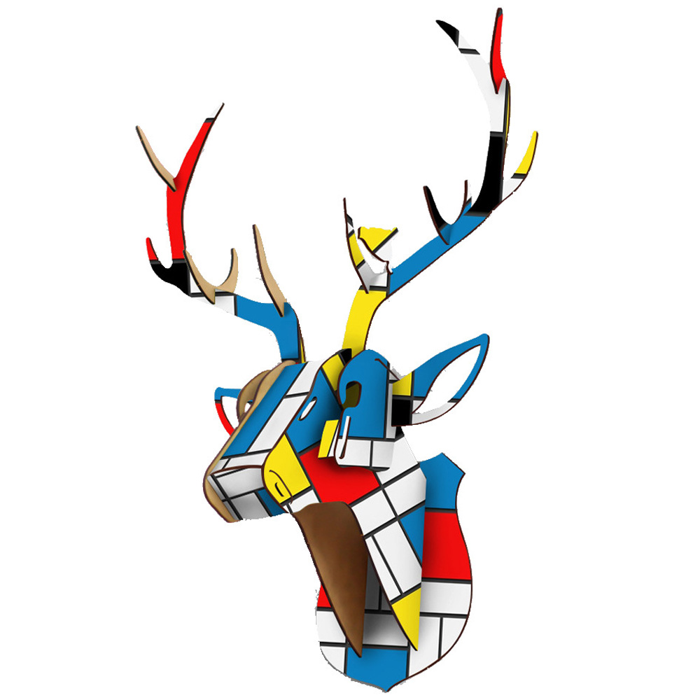 DIY 3D Wooden Animal Deer Head Art Model Home Office Wall Hanging Decoration Storage Holders Racks Home Decoration Accessories
