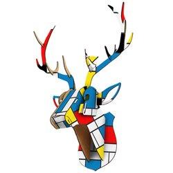 Diy 3d de madeira animal veado cabeça modelo arte casa escritório parede pendurado decoração armazenamento suportes cremalheiras acessórios decoração para casa